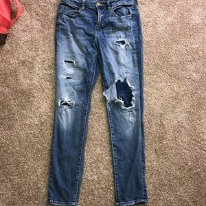 American Eagle Distressed Patched Jeans Size: 10